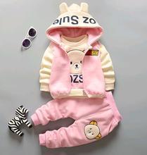 2016 winter children s three piece suits cotton add velvet Korean baby boys girls clothing sets