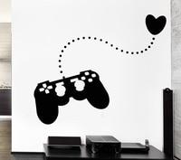 Boy Gamer Vinyl Wall Decal Gamer Play Room Video Games Teen Heart Mural Art Wall Sticker Kids Bedroom Home Decoration