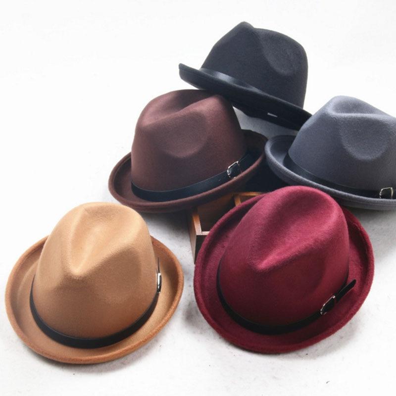Adulți mici pălărie centura catarama negru pălărie lână - Haine bebeluși