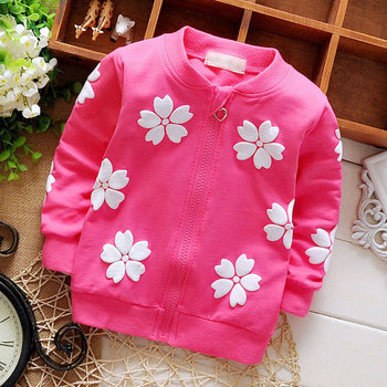2016 baby clothing spring girls Kids brand cotton coats for child girl flowers cardigan baby clothes sports jacket outerwear 1