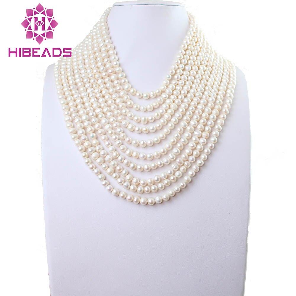 Livraison Gratuite! Colliers de perles deau douce blanches de luxe 10 brins Design de mode FP008Livraison Gratuite! Colliers de perles deau douce blanches de luxe 10 brins Design de mode FP008