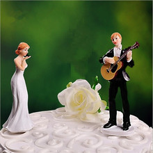 Love Serenade Guitar Playing Groom Wedding Cake Topper bride and groom cake topper figurines with free shipping