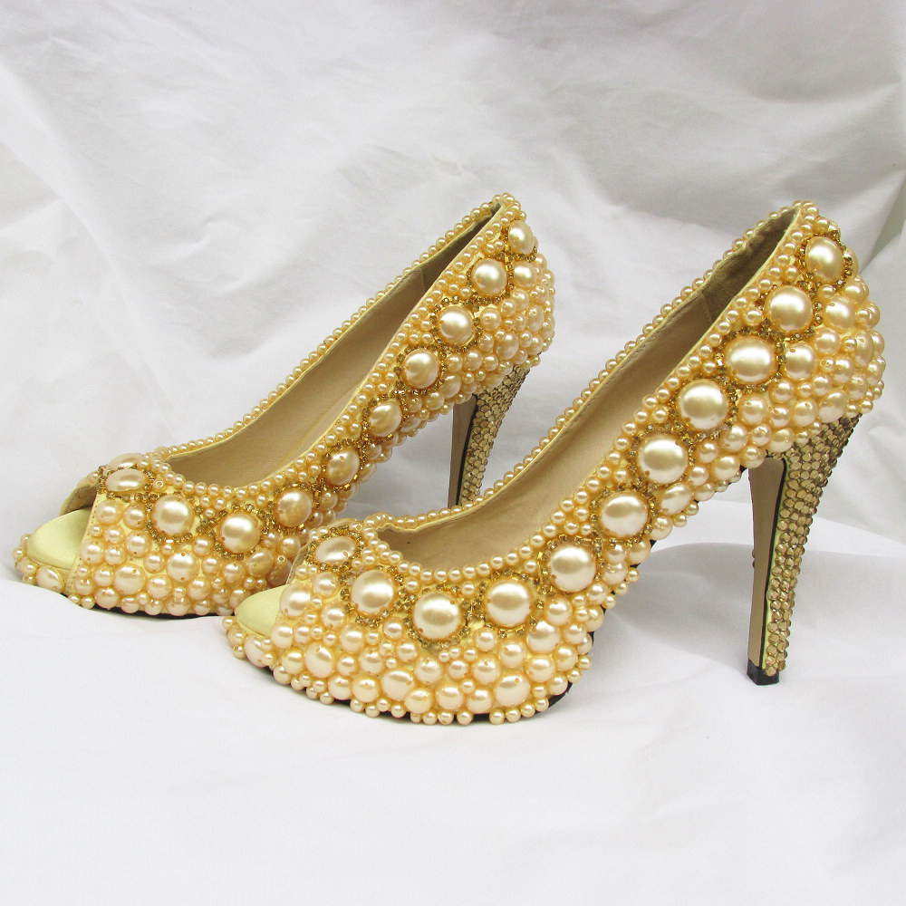 92ed8b6416153 Handmade Gold sewn pearls and rhinestones woman bridal wedding shoes party  prom event pumps sparkling size 6.5 free shipping-in Women s Pumps from  Shoes on ...
