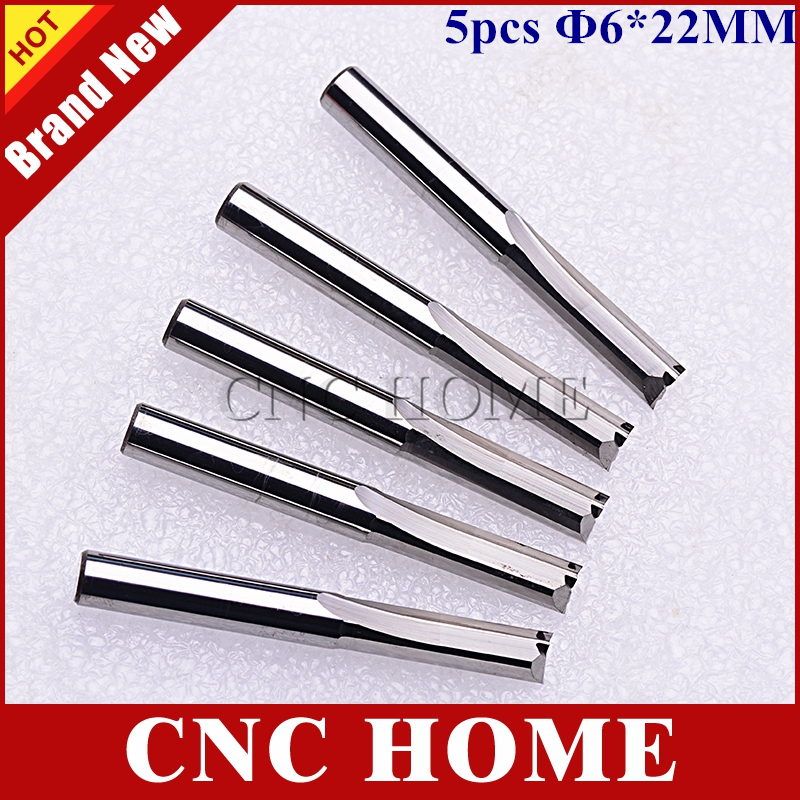 NEW 5 pcs/lot 6mm Carbide Two/Double Flute Straight Router Bits CNC Carving Engraving Knife Tools 22mm Free Shipping cutting tool
