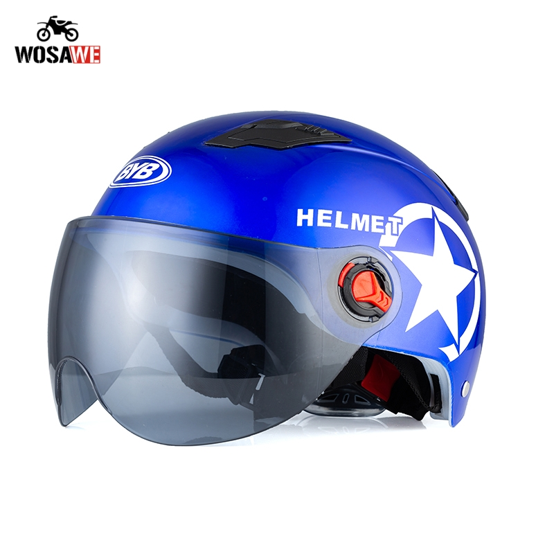Image 2 - Motorcycle Helmet Open Face Half Baseball Cap Scooter Bike Anti UV Safety Hard Hat Motocross Helmet Multiple Color Head Protect-in Helmets from Automobiles & Motorcycles