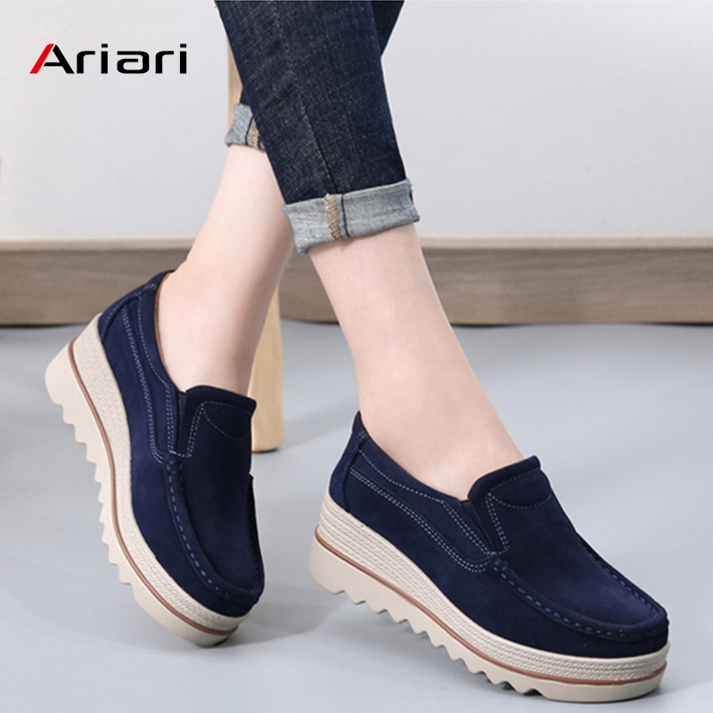 Ariari 2019 Spring women flats shoes platform sneakers shoes   leather     suede   casual shoes slip on flats heels creepers moccasins