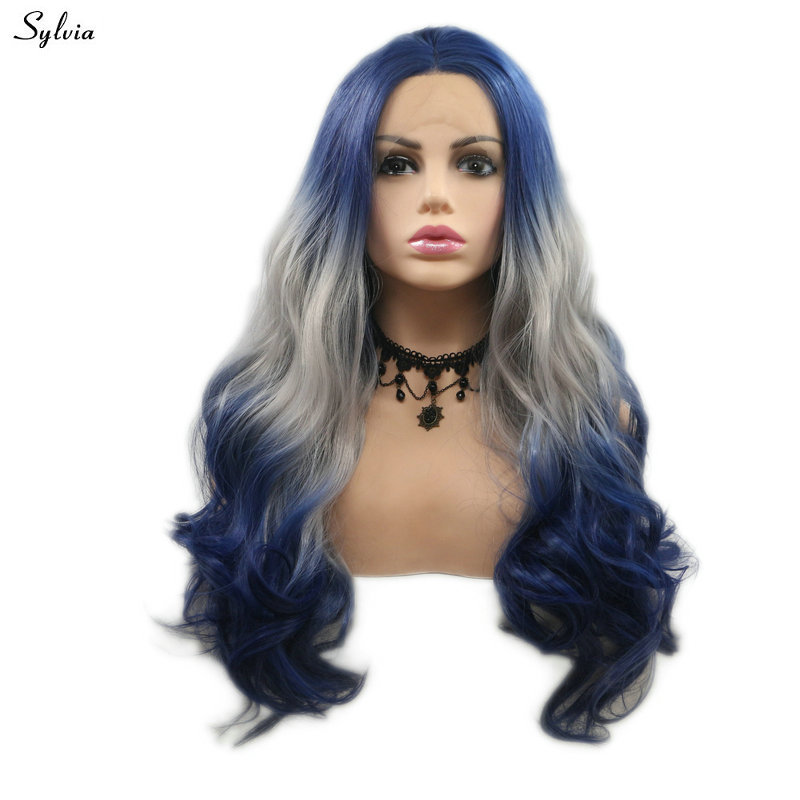 Sylvia Body Wave Synthetic Hair Blue Wig Cosplay Ombre Grey Natural Hairline Lace Front Wig For White Women Holiday Summer Girls
