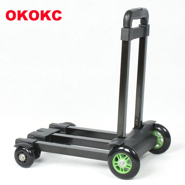8e3aa34d3eff US $57.0 25% OFF|OKOKC Travel Luggage Cart Folding Hand Carts Trolley Small  Car Toweres 4 Wheel Mute Household Shopping Trailer Travel Accessoris-in ...