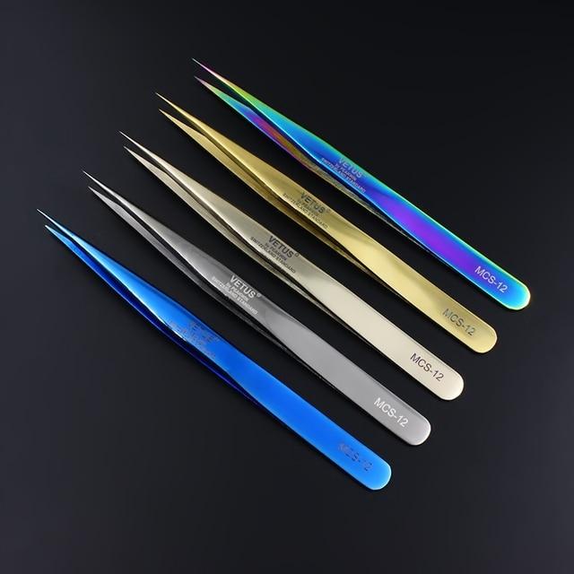 100% Vetus Original Eyelash Tweezers for 3D 6D Volume Eyelashes Extension Super Fine Tip Excellent Closure Makeup Tweezers 3