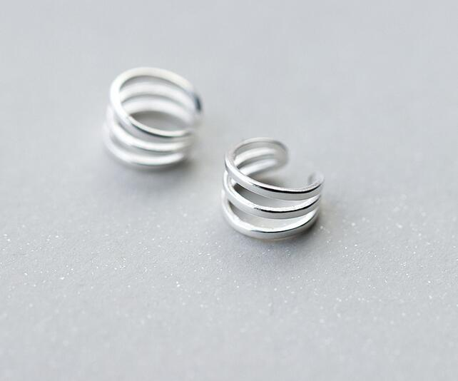 very very Small /Tinny 5MM Real. 925 Sterling Silver Fine Jewelry Hollow Three layers Triple Rows Clip Earrings Ladys GTLE1543