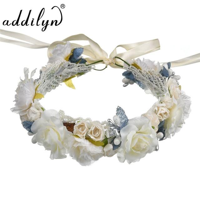 Turban Floral Easter Hair Accessory Cream Flower Crown Prom Flower Headband  for Women Wedding Hair accessories Bride Crowns bt21 d6010ecb010