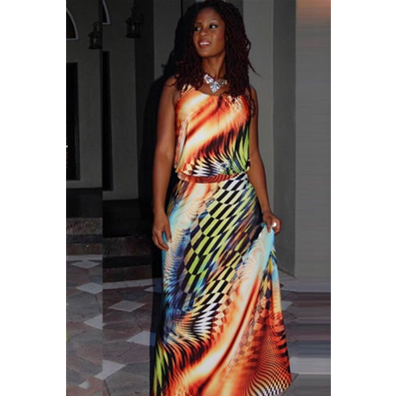 Hot Selling 2015 Boutique Sleeveless European Sexy Women Dress Maxi Printed Dress Long Loose Summer Plus Size Dress For Women