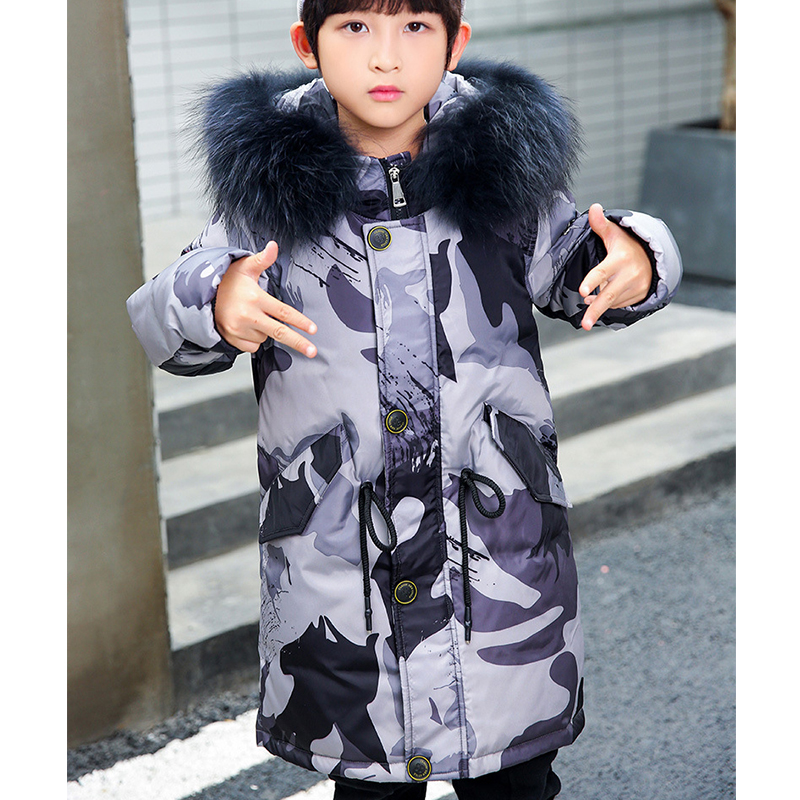 2018 Children Camouflage Printed Duck Down Coats Boys Winter Jackets for Kids Long Fur Hooded Teenage Boys Warm Jacket Clothes children winter coats 2017 boys winter jackets fur hooded teenage boys winter coats children duck down jackets kids outerwear