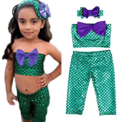 Two Piece Little Girl Mermaid Swimsuits Baby Kids Girls Bikini Suit