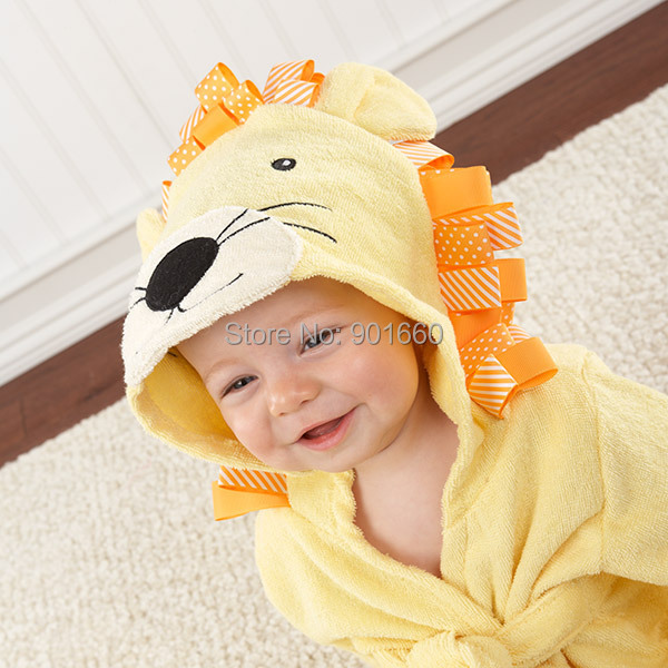 Yellow Lion Baby Boy Girl Dressing Gown Splash Wrap Bath Hooded