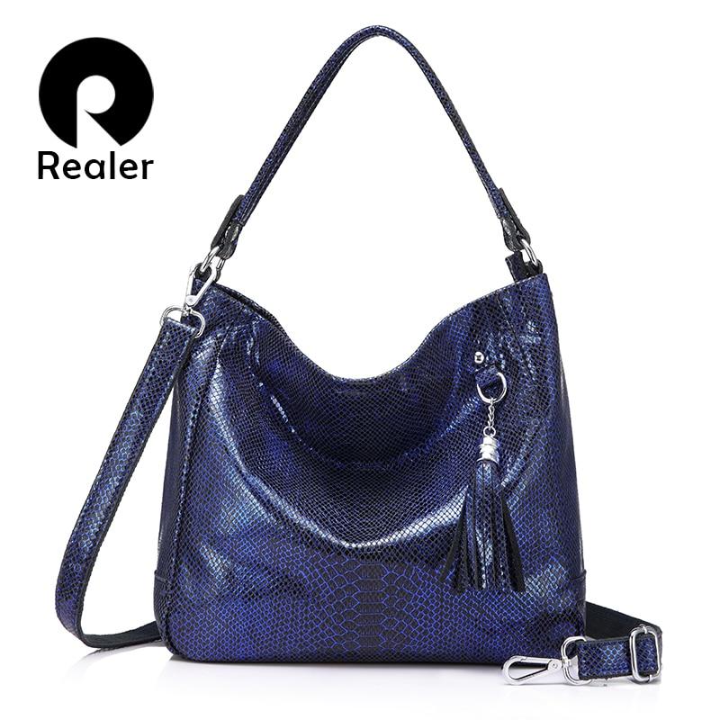 REALER women handbags genuine leather messenger bags female shoulder crossbody bag ladies big totes top handle