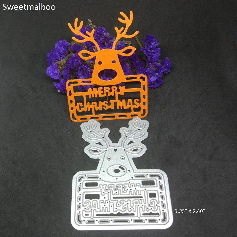 Metal CUTTING DIES Merry Christmas Letter Deer Party Card