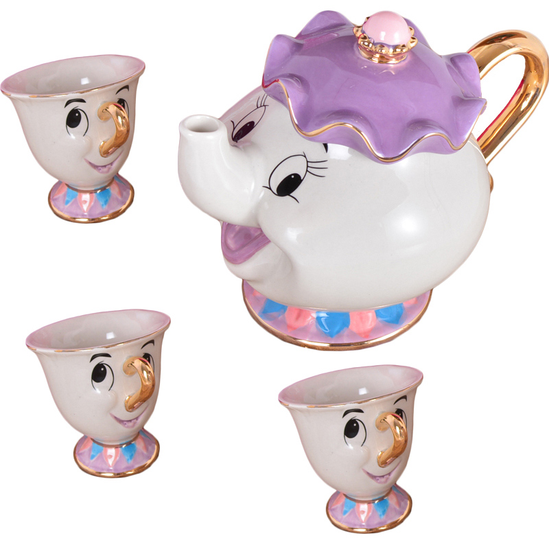 Cartoon Beauty And The Beast Tea Mug Mrs Potts Chip Tea Pot Cup Juego de té para amigo Regalo [1 olla + 3 tazas]