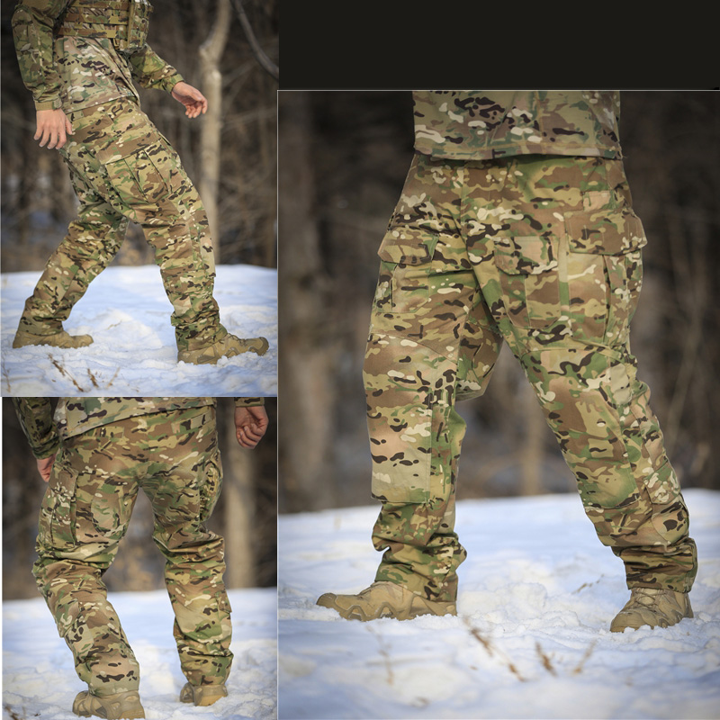 Multicam 3G Ripstop combat pants with knee protection MC Tactical Army Ripstop Pants Multicam Black