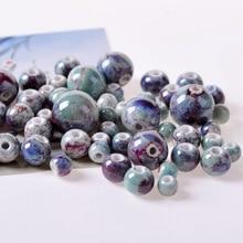 50pcs/lot 6mm-18mm Ceramic Beads DIY/Handmade Multi Color perle ceramica con foro For Jewelry Making Accessories