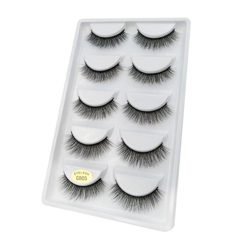 50 Pairs/Lot 100% Real Mink Fur Winged Short 3D False Eyelashes Fake Eye Lashes Cosmetic Made In China
