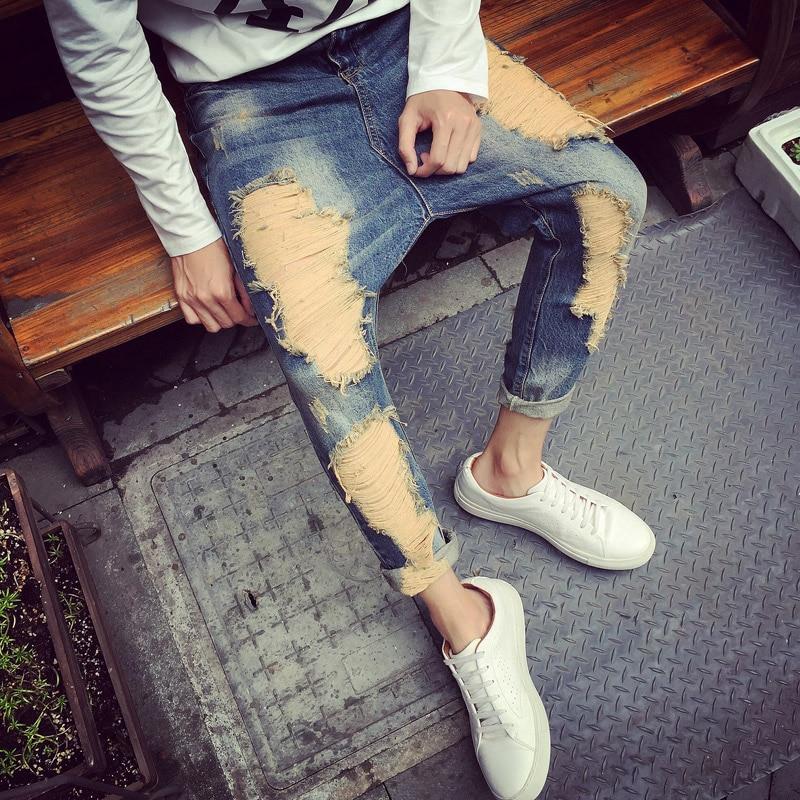 Top Fashion 2016 Mens Ripped Jeans Vintage Destroyed Harem Jeans For Man Male Distressed Denim Pants