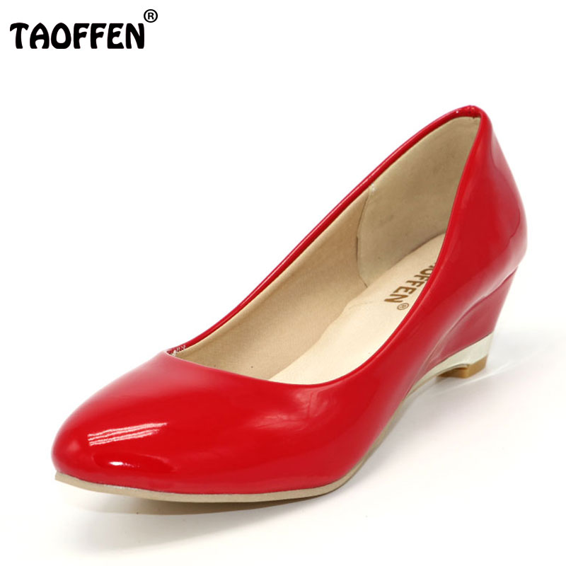 TAOFFEN Size 28-52 Patent Leather Wedge Heel Shoes Classics Woman Heels Pumps Women Sapatos Dress Footwear Shoes P22572 taoffen women high platform shoes patent leather star lady casual fashion wedge footwear heels shoes size 33 48 p16184
