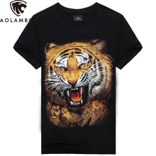 T shirt men 3D Animal 3D T shirt 100% Cotton casual T-shirt Men clothes Pattern Tiger Wolf 14 Style 2016 Hot hip hop t shirt men