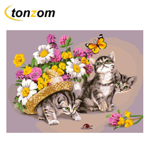 RIHE Cute Cat Drawing By Numbers DIY Animal Daisy Painting Handwork Cuadros Decoracion Oil Art Coloring Home Decor