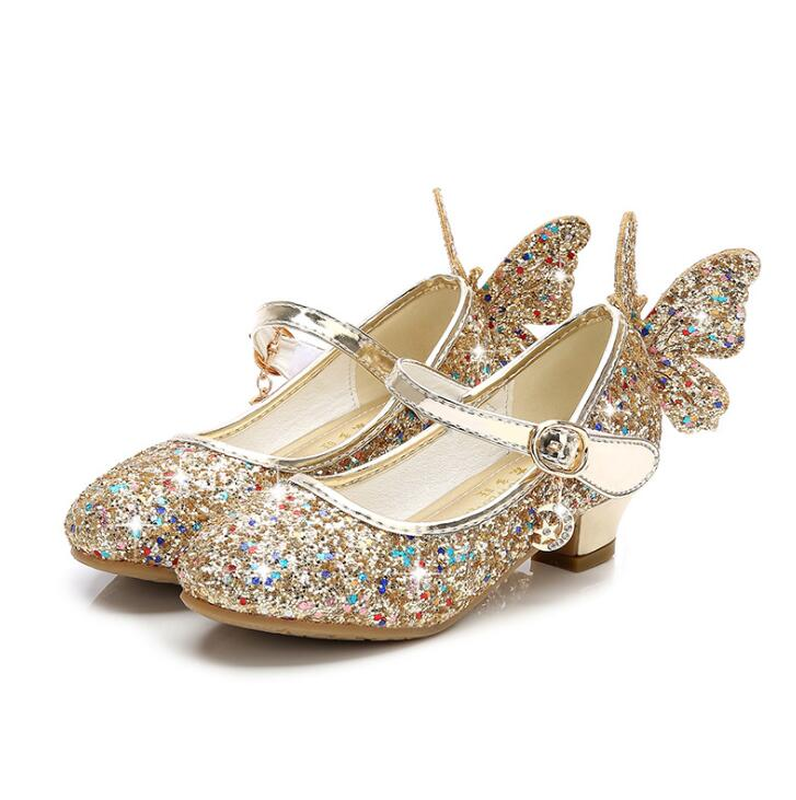 Girls High Heel Children Shoes Fashion Kids Sequin Princess Shoes Butterfly Party Wedding Girls Dance Shoe Gold Pink Blue Silver