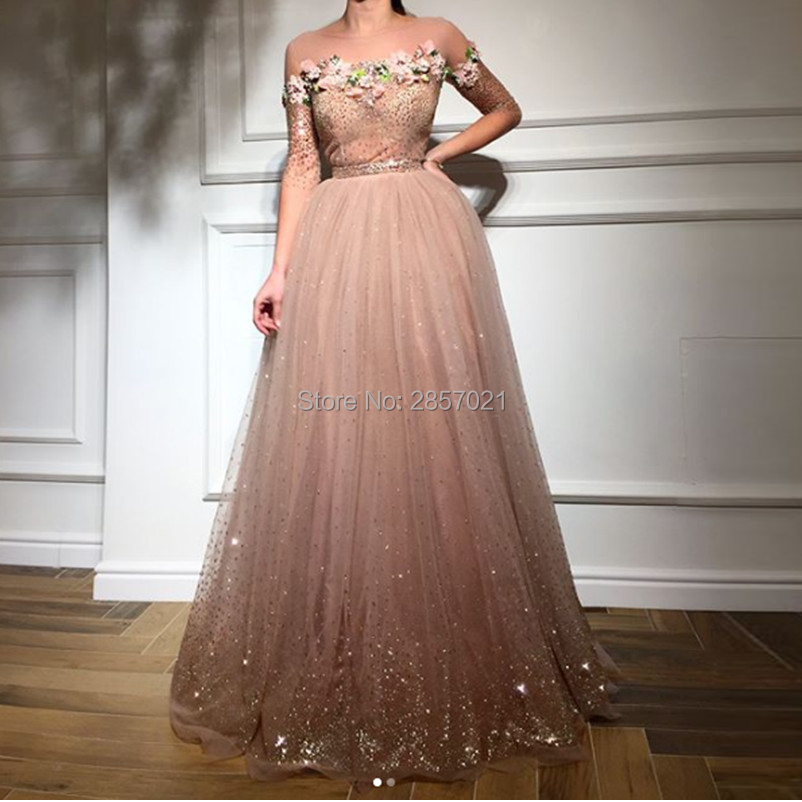 2018 Gorgeous Long Tulle Formal Evening Dresses Sheer Scoop Neck