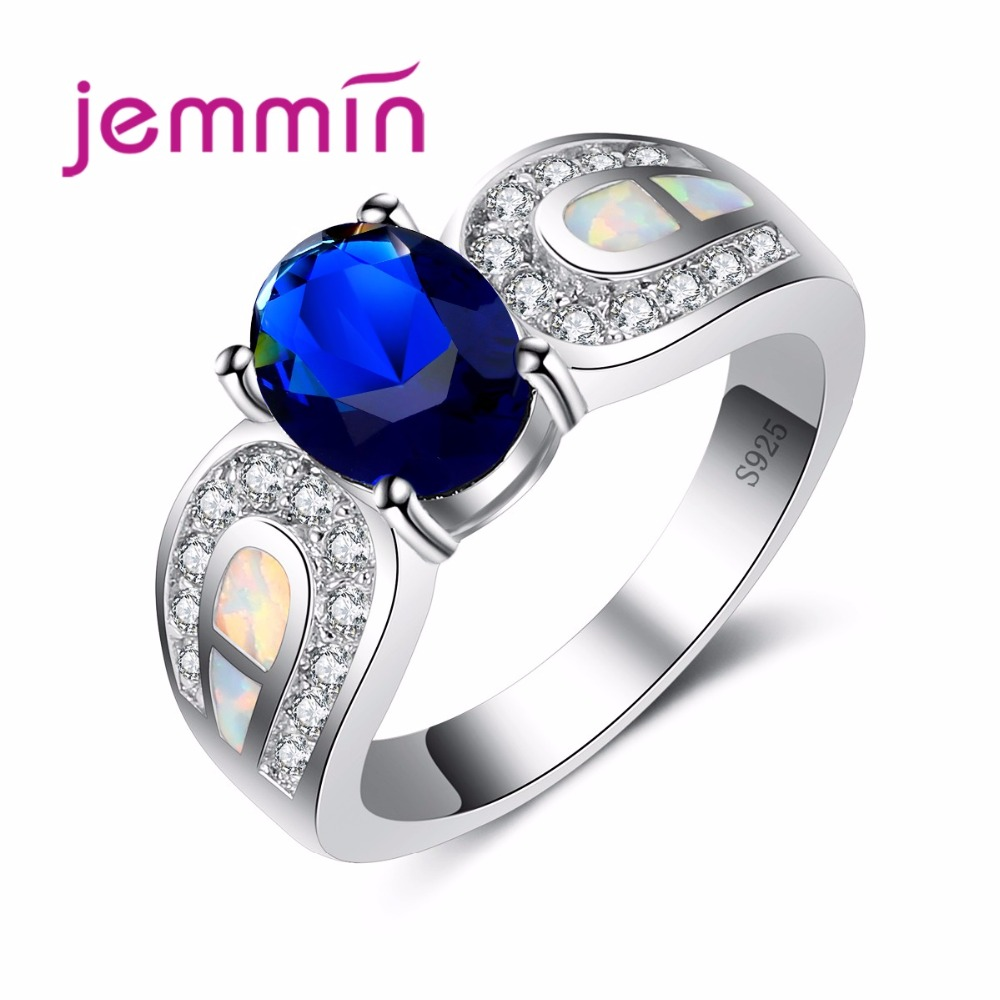 Jemmin New Classic Dark Blue Oval CZ Ring Wedding Bridal Jewelry for Women 925 Sterling Silver Bijoux Fashion Opal RingJemmin New Classic Dark Blue Oval CZ Ring Wedding Bridal Jewelry for Women 925 Sterling Silver Bijoux Fashion Opal Ring