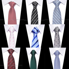 High quality 8CM 100% silk  Printing plaid solid Tie Informal Fashion Mens Necktie 30 Colors Wedding Party Skinny For Gift