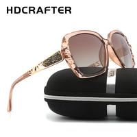 Neue Ankunft HDCRAFTER Luxusmarke Design Sonnenbrillen übergroßen Frauen Polarisierte sonnenbrille hohe qualität Weibliche Prismatische Brillen