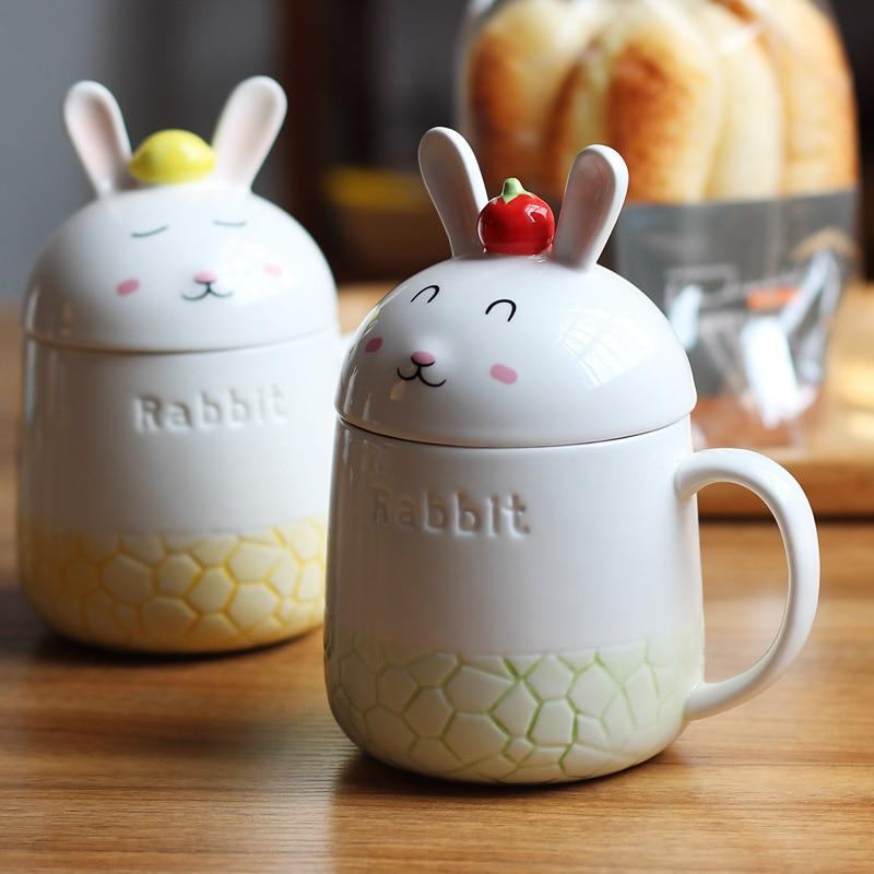 Kawaii Mugs 3D <font><b>Rabbit</b></font> <font><b>Couples</b></font> <font><b>Cups</b></font> With Lid Cute <font><b>Coffee</b></font> <font><b>Cup</b></font> Milk <font><b>Cups</b></font> <font><b>Ceramic</b></font> Mug Breakfast <font><b>Cup</b></font> Creative Gift