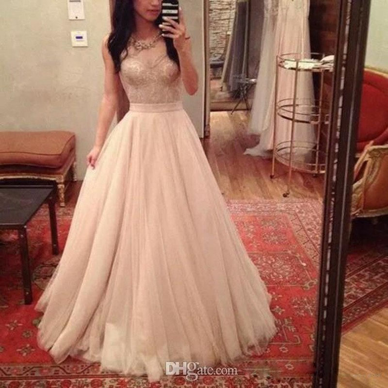 Sweetheart Nude Lace Top A Line Tulle Nude Long Prom Dress Sexy