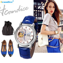 Hcandice Girls Vogue Leather-based Band Mechanical Watch Wrist Watch HOT Important 2017 New 17Mar31