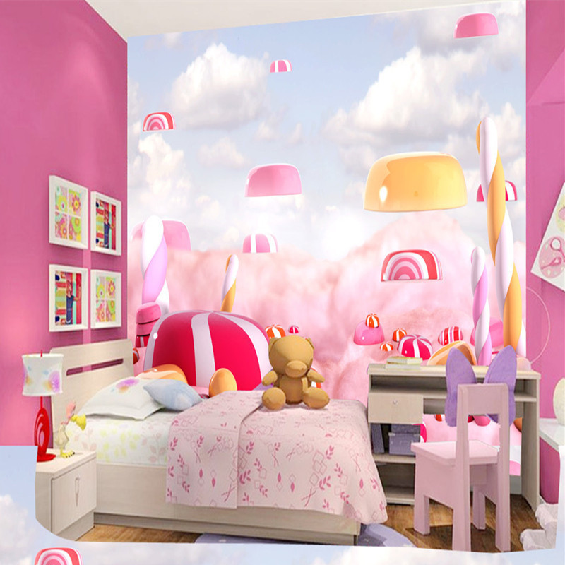 Custom 3D Photo Wallpaper Creative Candy Wall Mural Children Room Non-woven Wallpaper Environment Friendly Photo Wallpaper Mural 3d wallpaper custom mural non woven cartoon animals at 3 d mural children room wall stickers photo 3d wall mural wall paper