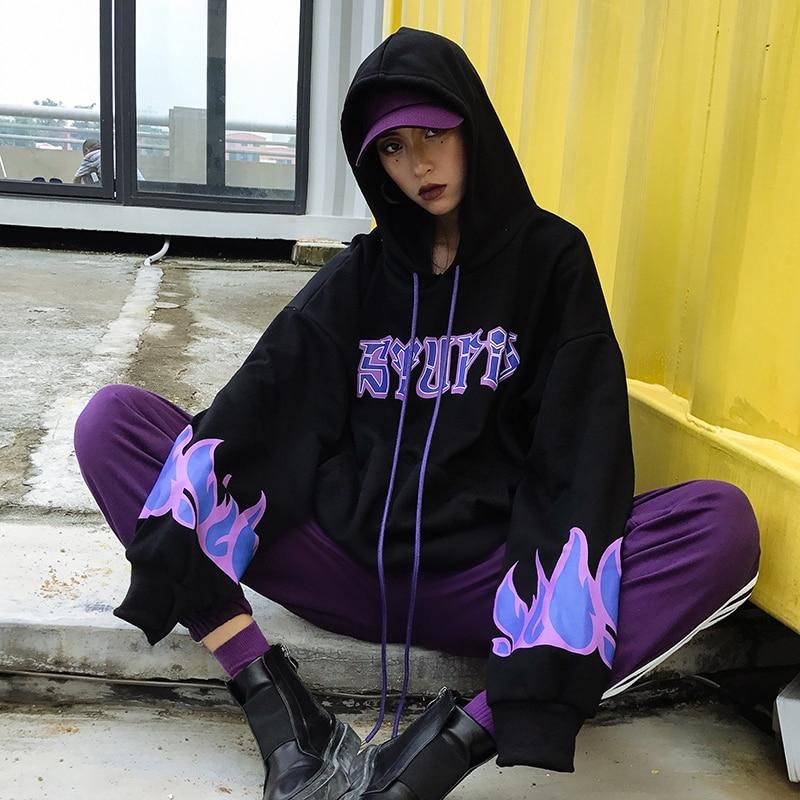 Harajuku Style Hellfire Letter Print Hoodies Women 2018 New Vintage Cotton Loose Hooded Long Sleeve Plus Velvet Sweatshirt