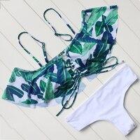Strapless Bikini Leaves Printed Swimwear Vintage Ruffled Bikini Set Beachwear Push Up Swimsuit Women Bathing Suit