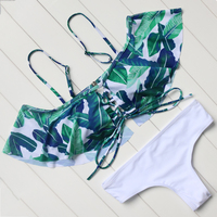 Strapless Bikini Leaves Printed Swimwear Vintage Ruffled Bikini Set Beachwear Push Up Swimsuit Women Bathing Suit