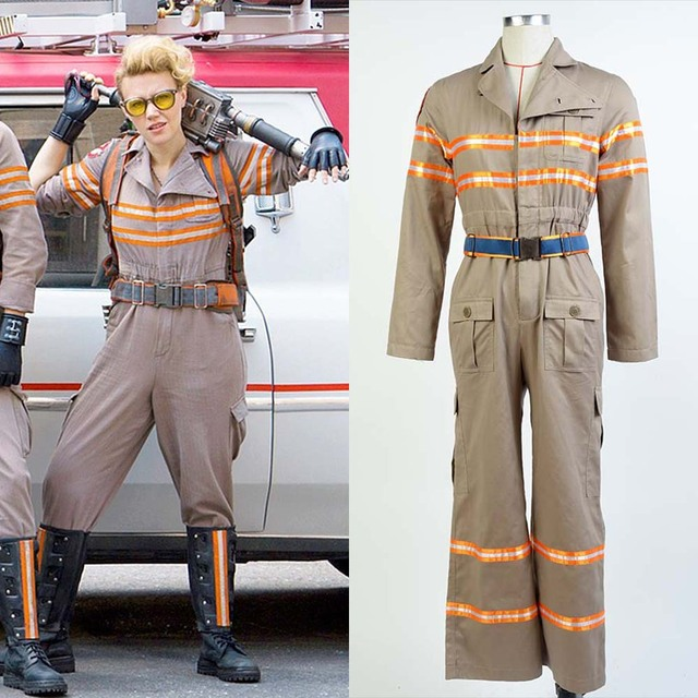 ghostbusters costume ghost busters cosplay jumpsuit halloween team full sets uniform unisex flight suit rompers fantays