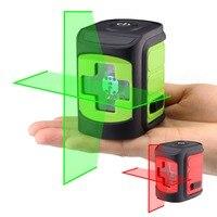 레드/그린 빔 레이저 레벨 셀프 레벨링 수평 및 수직 크로스 라인 휴대용 미니 레벨 미터 2 라인