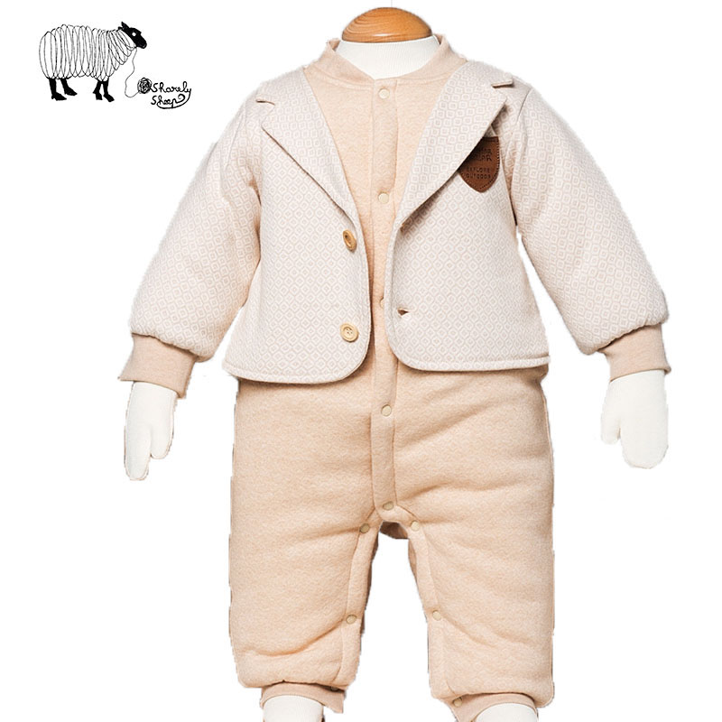 Newborn Baby Boy Gentleman Style Organic Cotton Fashion Winter Rompers Clothes Infant Boys Fake 2Pcs Jumpsuit Overall Clothing newborn baby clothes winter baby boy clothes cotton romper jumpsuit gentleman costume baby rompers infant boy clothes 0 12m