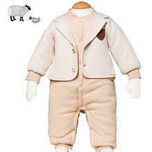 Newborn Baby Boy Gentleman Style Cotton Winter Rompers Clothes Infant Boys Long Sleeve Covered Button Fake 2Pcs Jumpsuit Overall