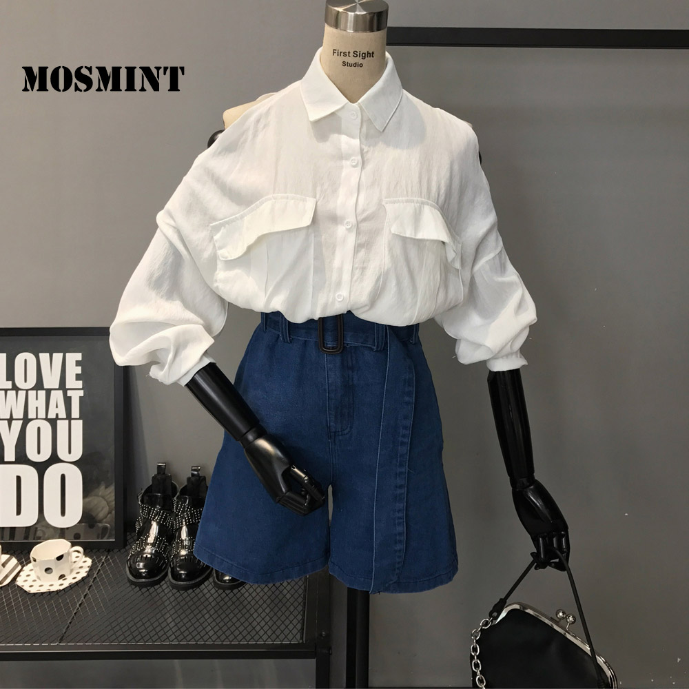 MOSMINT Cutout Shoulder White Blouse Shirts Women Autumn Loose Chic Soft Tops Female Hollow Out Blouse Shirts with Two Pockets
