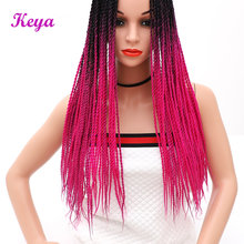 Keya Ombre Senegalese Twist 6 pcs/lot Crochet Braids 30 Roots Synthetic Crotchet Braiding Hair Pink Hair Blue Braids for Women(China)