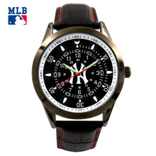 MLB NY series fashion sport lover' watch big face waterproof wristwatch leather band  quartz  for men and women watches SD013