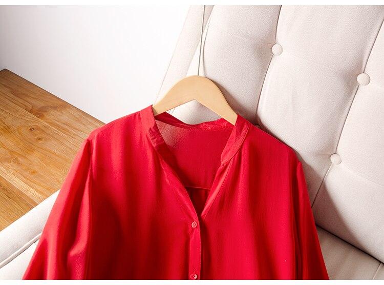 Femmes robe rouge 100% réel soie crêpe col en V ceinturé robes pour femmes 2019 été demi manches bureau dame robe - 3