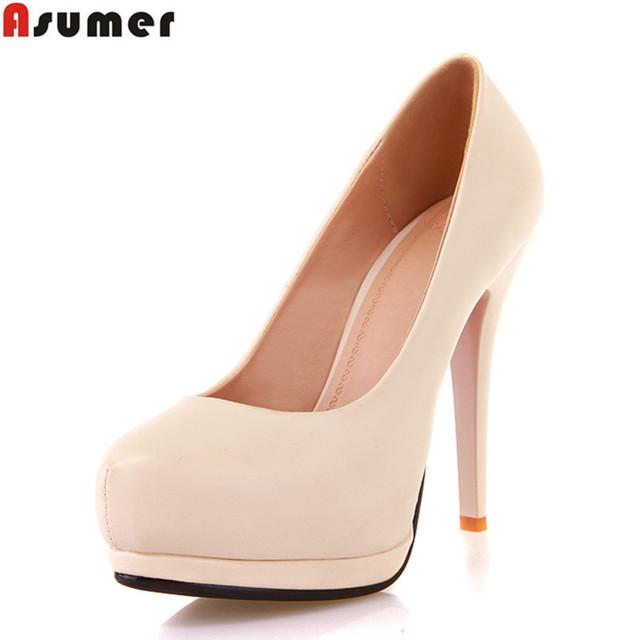 2016 new mature women's Party Shoes round toe slip-on pumps high-heeled shoe thin heels black beige lady platform shoes